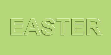 Greeting banner with Easter, green pastel color with shadow, vector Easter text simple paper banner, 3D lettering spring style