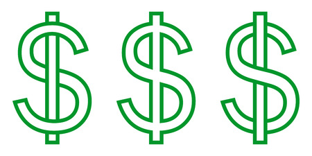 Set icon money symbol dollar, letter S intertwined with a vertical stripe, vector set currency dollar sign green.
