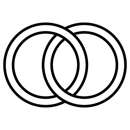 Interlocking circles icon sign, the outline of the rings. Circles, rings wedding concept icon symbol marriage