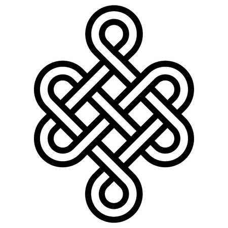 Mystical knot of longevity and health, a sign of good luck Feng Shui, vector the infinity knot, health symbol tattoo Vettoriali