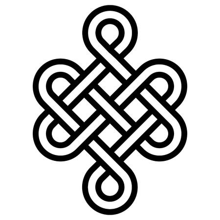 Nudo místico de longevidad y salud, un signo de buena suerte Feng Shui, vector el nudo infinito, tatuaje de símbolo de salud