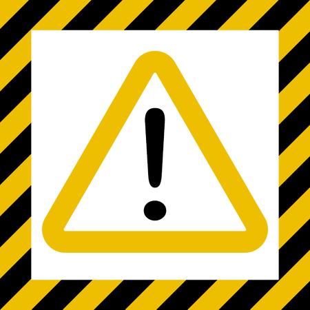 Hazard symbol sign, exclamation mark, warn caution construction, vector striped background, hazard mark safety, attention icon