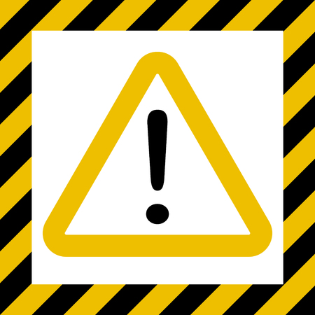 Hazard symbol sign, exclamation mark, warn caution construction, vector striped background, hazard mark safety, attention icon