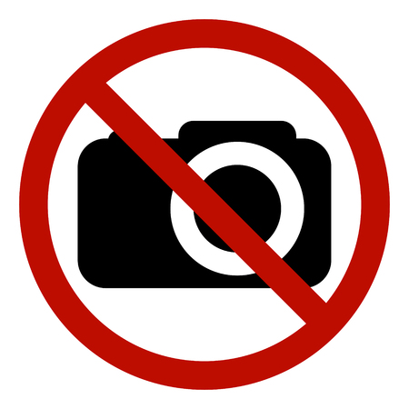 Prohibiting sign photo video shooting is prohibited, vector no photo, warning sign not to shoot, red circle crossed out camera