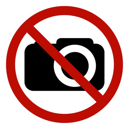 Zabronione jest robienie zdjęć ze znakami, wektor bez zdjęcia, znak ostrzegawczy, aby nie strzelać, czerwony okrąg przekreślony aparat