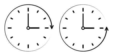Clock icon with clockwise and counter clockwise Illustration.