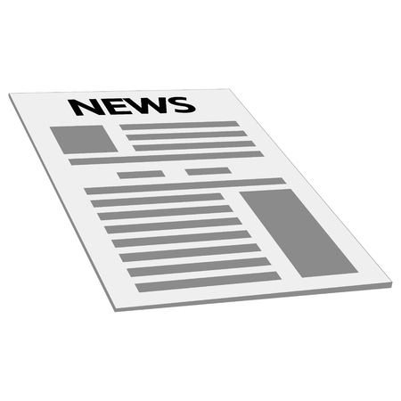 newspaper news cover page icon, vector mockup template first page news, isometry perspective