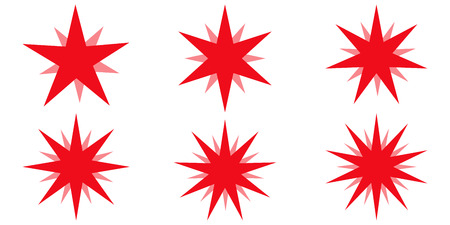 Red beams firework. Best for sale sticker, price tag, quality mark, vector set star with glow radiance, design elements Sunburst