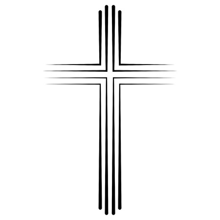Christian Catholic cross icon in flat design, vector cross icon baptism. Abstract linear christian crucifix