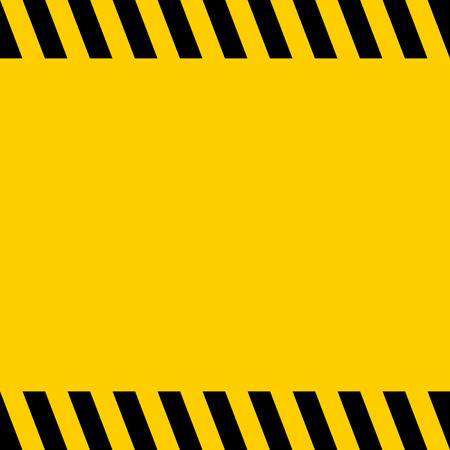 Black and yellow warning line striped square title background, vector sign background for warning notifications, template for important messages