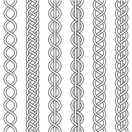 Rope cable weaving, knot twisted braid, macrame crochet weaving, braid knot, vector knitted braided pattern of intersecting strands wicker, set Ilustração