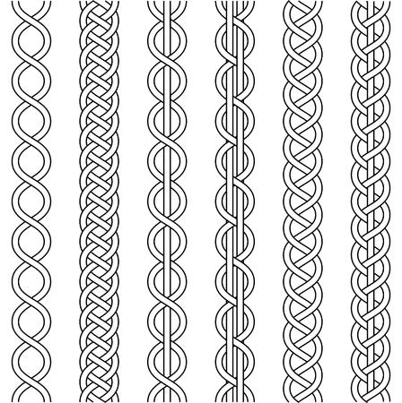 Touw kabel weven, knoop gedraaide vlecht, macrame haak weven, vlecht knoop, vector gebreid gevlochten patroon van kruisende strengen rieten, set Vector Illustratie
