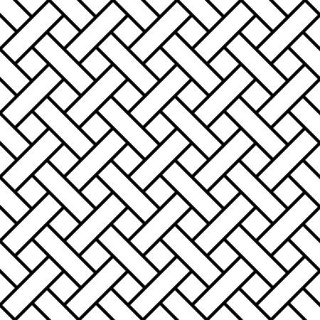 Ligne d'art sans couture tressée, rayures de tressage à motif géométrique vectoriel, bardeaux diagonaux, bardeaux, lattes
