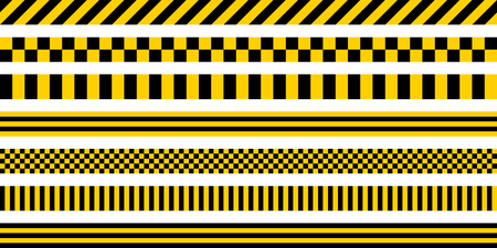 Set of stripes yellow and black color, with industrial pattern, vector safety warning stripes, black pattern on yellow background Ilustrace