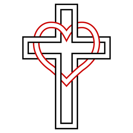 Intertwining of the heart and the Christian cross, vector symbol of faith and love to God. Christian symbol