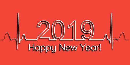 Banner de Navidad médica, feliz año nuevo 2019, latido del corazón de onda de estilo médico de salud de vector 2019, estilo de vida saludable de concepto, efecto 3D con sombra, vida fitness