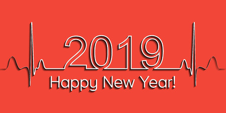 Medical Christmas banner, 2019 happy new year, vector 2019 health medical style wave heartbeat, concept healthy lifestyle, 3D effect with shadow, fitness life 版權商用圖片 - 109844615