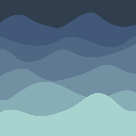 Sea waves background, vector abstract painting with blue sea waves, flat curve