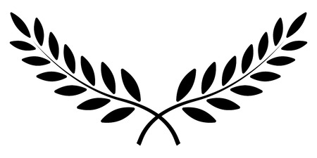 ramo d'ulivo, corona di alloro, simbolo del premio vincitore del vettore, segno di vittoria e ricchezza nell'Impero Romano Vettoriali