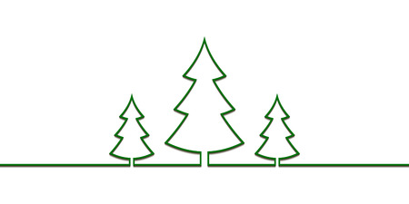 Christmas trees one line drawn, vector pattern new year, Christmas trees flat with shadow isolated on white