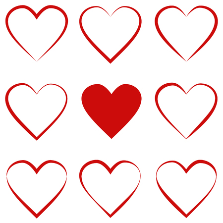 set hearts with calligraphic stroke, symbol of love sign, vector outline of heart red, Valentines day holiday Ilustração