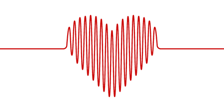 heart shape wavy line, vector heartbeat hand drawn, concept of health and healthy lifestyle