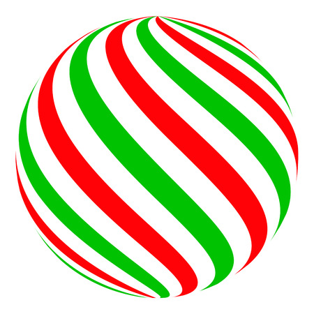 Christmas ball candy sphere for decoration, vector Christmas ball color classic candy Ilustração