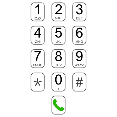 Smartphone keypad dialer with buttons, vector user interface keyboard for calls, virtual dialer number call dial, screen pad