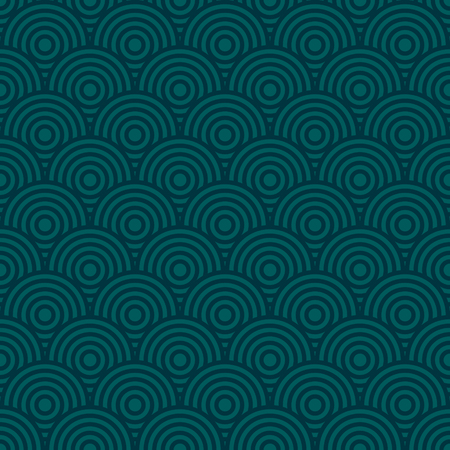 Seamless fish scale pattern, Chinese Japanese ethnos ornament, ocean color sea wave vector background Ilustração