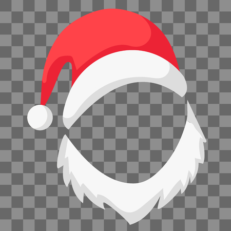 Red Santa Claus hat with beard mocap, vector festive decoration pictures Santa hat and beard, symbol of Christmas and new year