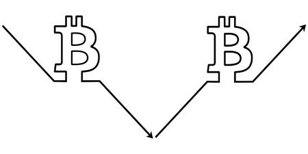 set icons cryptocurrency bitcoin, vector symbol sign of growth and fall of the bitcoin exchange rate