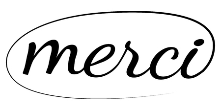 Merci phrase written by hand  drawn lettering quote calligraphic brush, thank you vector in French. Ink illustration. Merci fashionable calligraphy brush Illustration