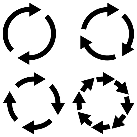 Set sign reload refresh icon, spinning arrows in a circle, vector symbol sync, renewable crypto currency exchange, change renew vector