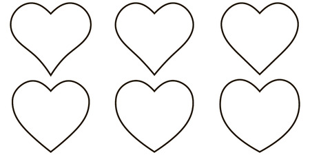 Set contour heart icon, vector set heart shape, for lovers on Valentines day