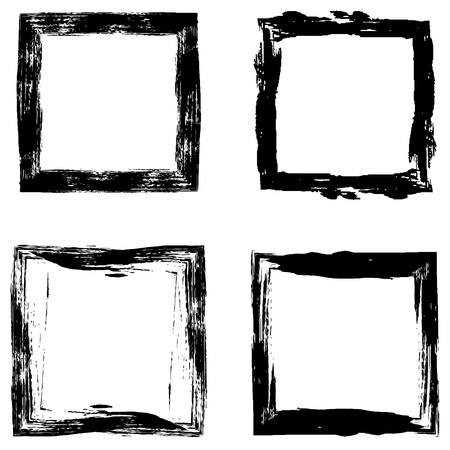 Set a picture frame drawn with a stiff brush, vector abstract makeovers photo frame hand drawn Ilustração