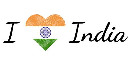 I love country India, text with heart Doodle, vector calligraphic text, I love India flag heart patriot Ilustração Vetorial