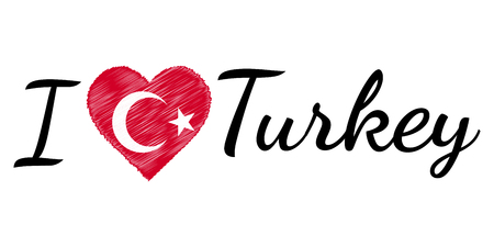 I love country Turkey turkish, text with heart Doodle, vector calligraphic text, I love Turkey turkish flag heart patriot