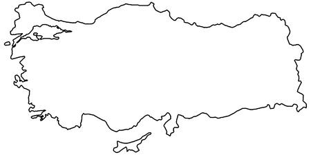Outline of the country of the state of Turkey, vector of the border outline of the state of Turkey Banque d'images - 115704984