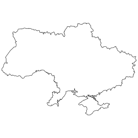 Outline of the country of the state of ukraine, vector of the border outline of the state of ukraine