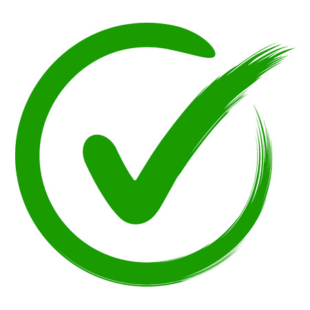 approval symbol is a check mark in a circle, drawn by hand, vector green sign OK approval or development checklist. personal choice mark Vettoriali