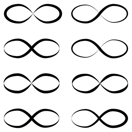 Infinity symbols are unlimited. Eternal, limitless, infinite,symbol of life or tattoo concept unlimited Illustration