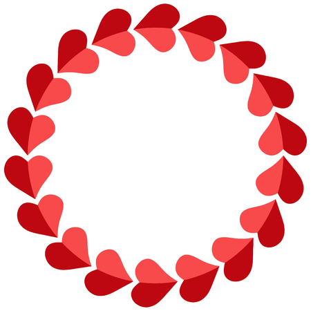 Valentine frame of hearts round, vector photo frame for a loved one, template circular hearts for the beloved Ilustração