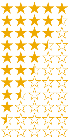 Five 5 stars product quality rating set of icons, vector yellow flat stars with half rating of hotels and wine, quality rating of service booking Illustration