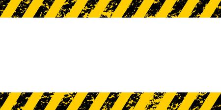Cadre d'avertissement rayures diagonales jaunes et noires, texture vecteur grunge avertir de la prudence, construction, fond grunge de sécurité
