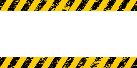 Warning frame yellow and black diagonal stripes, vector grunge texture warn caution, construction, safety grunge background