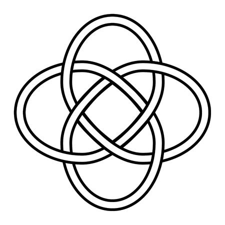 Noeud celtique symbole d'éternité et d'interconnexion de toutes choses, signe vectoriel de chance et d'amour infini, tatouage logo bijoux infini
