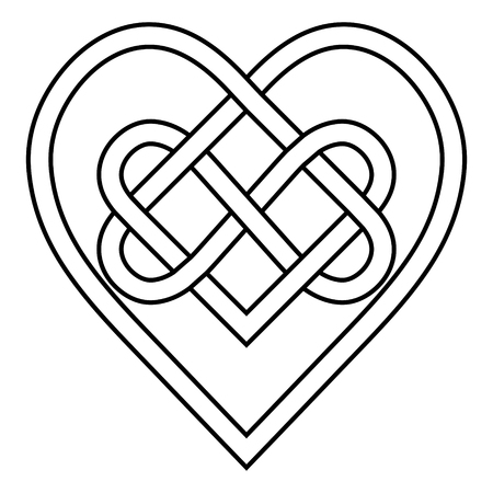Celtic knot rune bound hearts infinity, vector symbol sign of eternal love, tattoo pattern of hearts