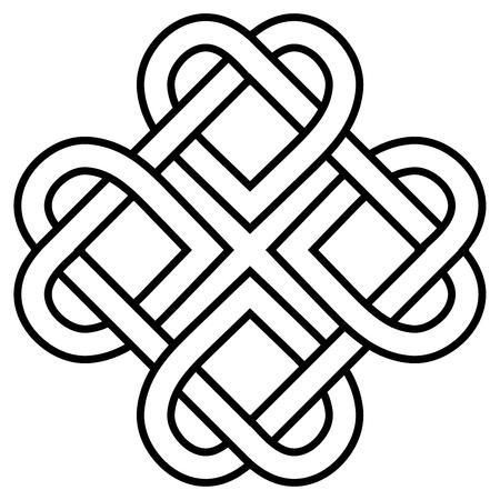altes Symbol, verdrehtes Herz des Liebesknotens, Vektorherzform, die in einen Kranz gewebt ist, ein Symbol der ewigen Liebe Vektorgrafik