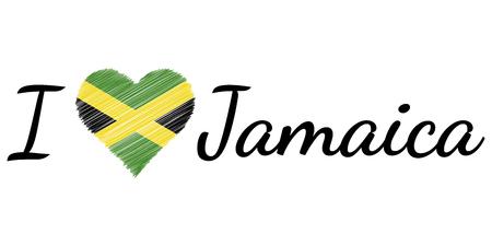 I love country Jamaica, text heart Doodle, vector calligraphic text, I love Jamaica flag heart patriot jm