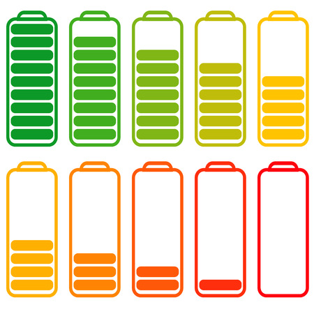 Set of batteries with different level of charge, vector energy, accumulator with decreasing level of energy charging Illustration